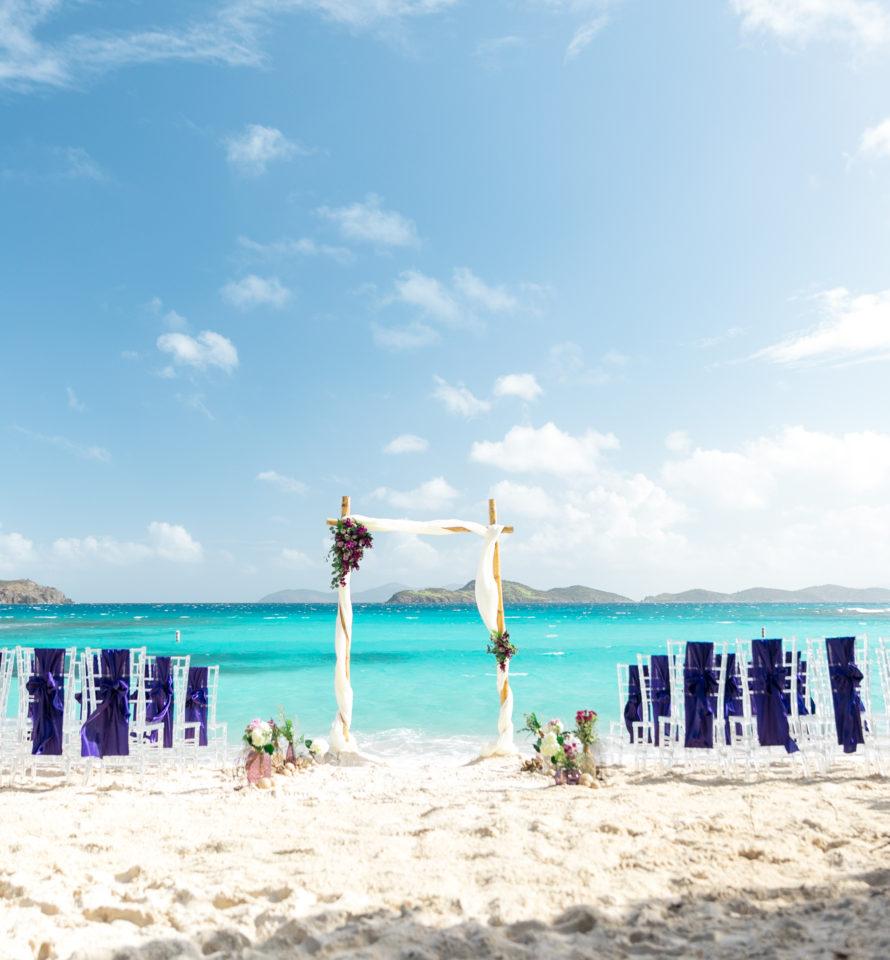 Lindquist Beach wedding Setup Wide Shot Purple Wedding