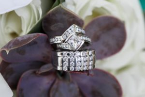 Lindquist Beach Wedding Rings and Bouquet