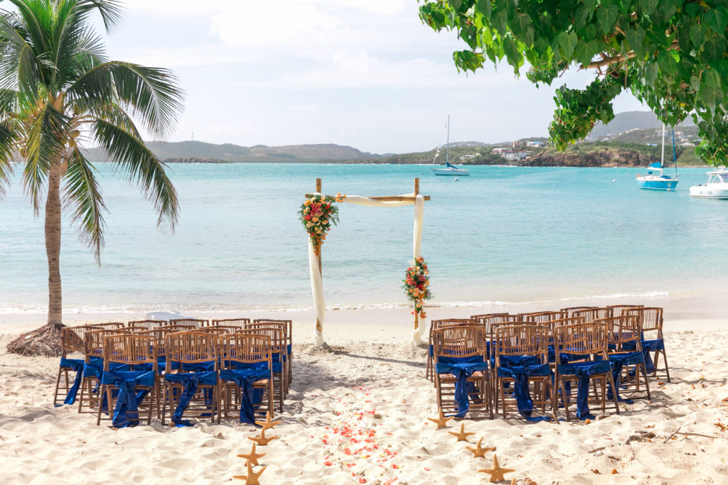 post storm st thomas wedding setup ceremony