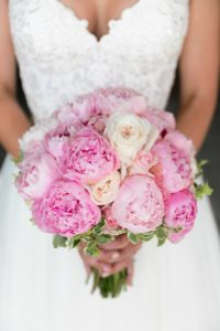 peony bouquet at this island wedding
