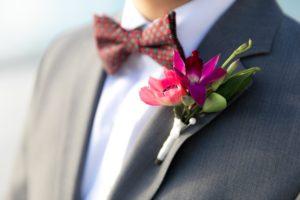 Tropical Boutonniere for groom's Destination Beach wedding