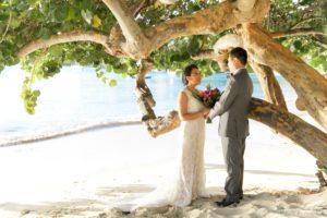Destination Beach wedding at Sea Grape tree in St. Thomas