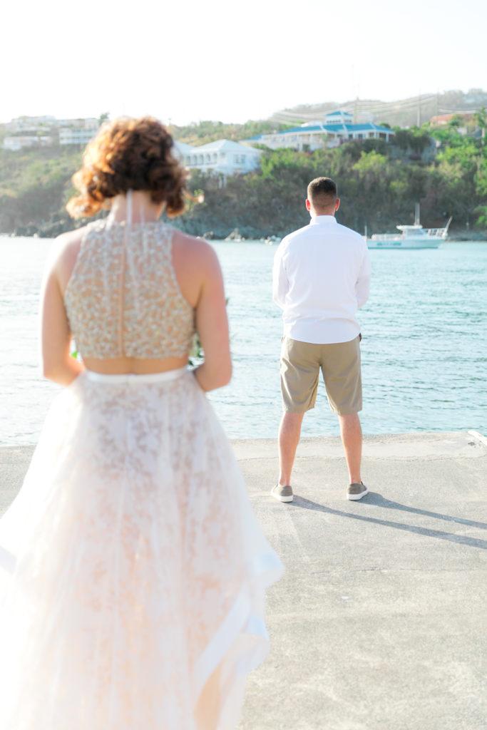 Sunset Secret harbour wedding first look