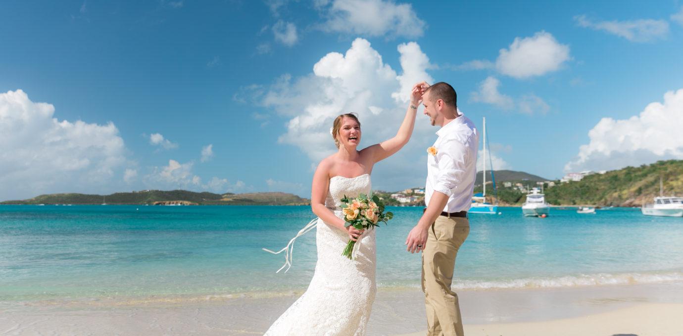 Simple St Thomas Wedding Bride and Groom Dancing