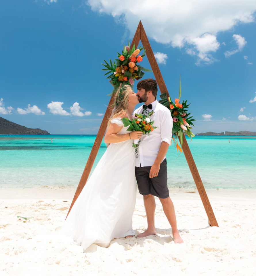 Lindquist Beach Wedding Triangle Arch