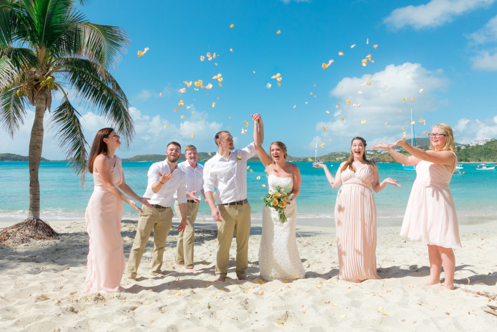 Simple St Thomas Wedding Rose Petal Toss