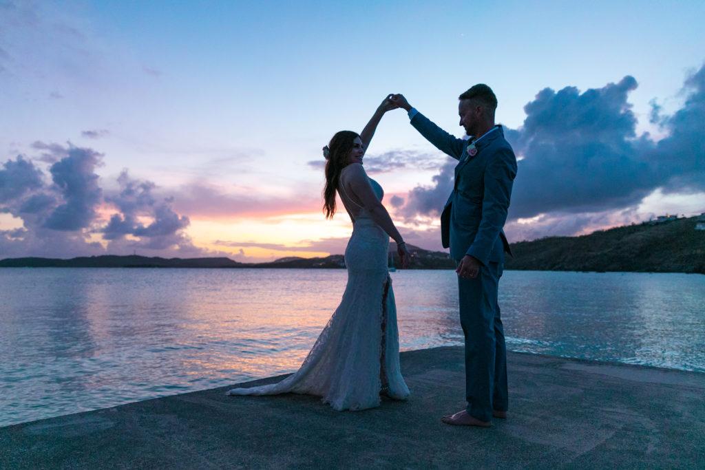 Boho Bride at Secret Harbour Sunset Dancing on Dock