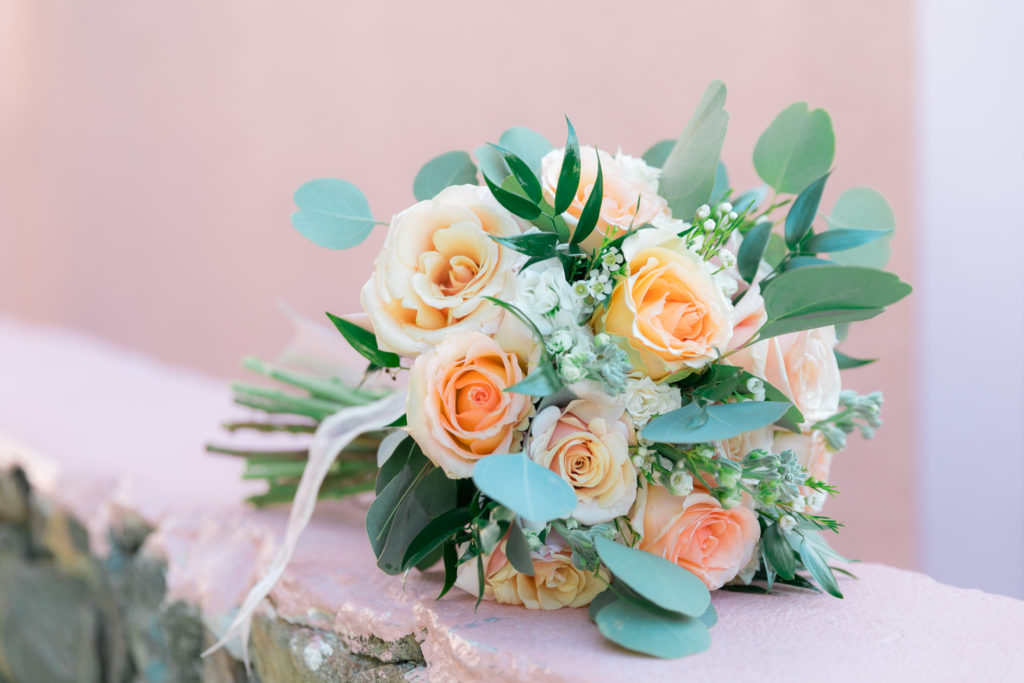 Simple st thomas wedding bouquet with eucalyptus