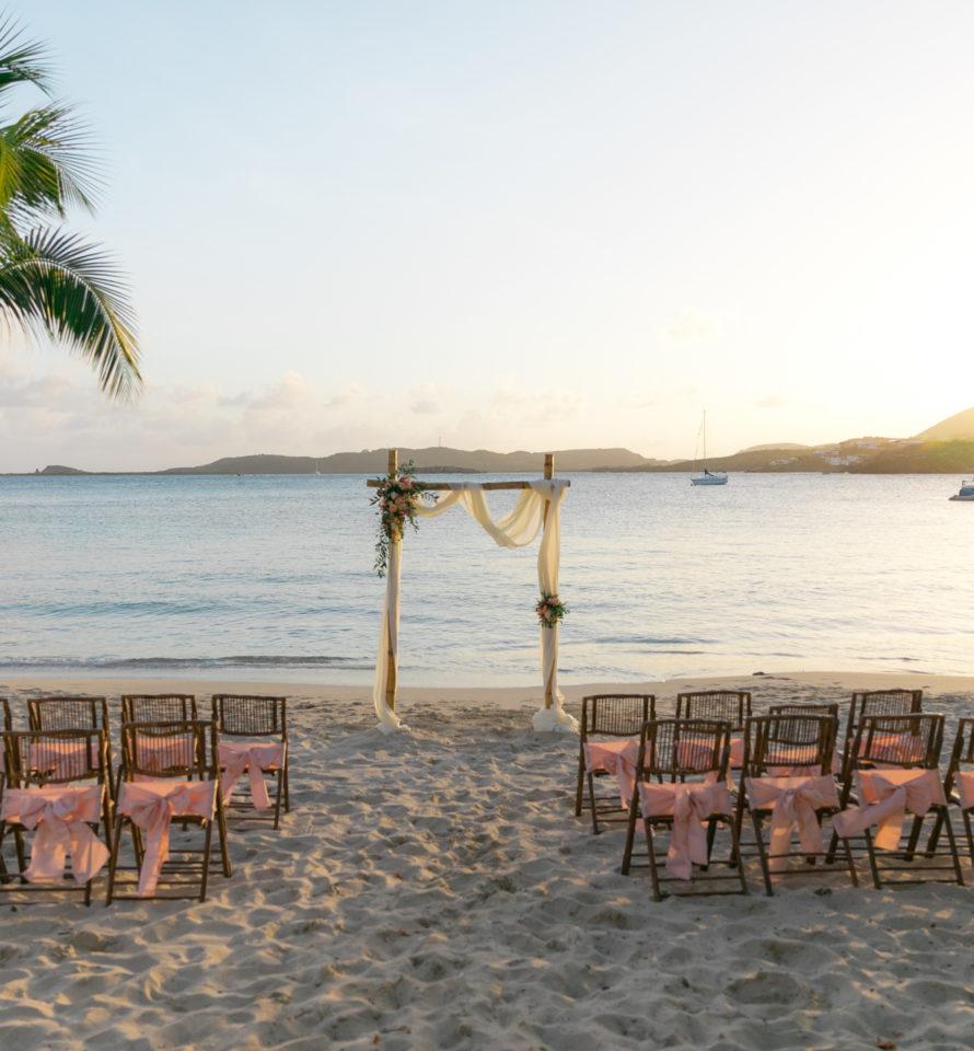 Secret harbour Sunset Wedding setup